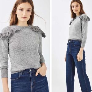 Topshop Grey Marl Ruffle Shoulder Sweater Size 6